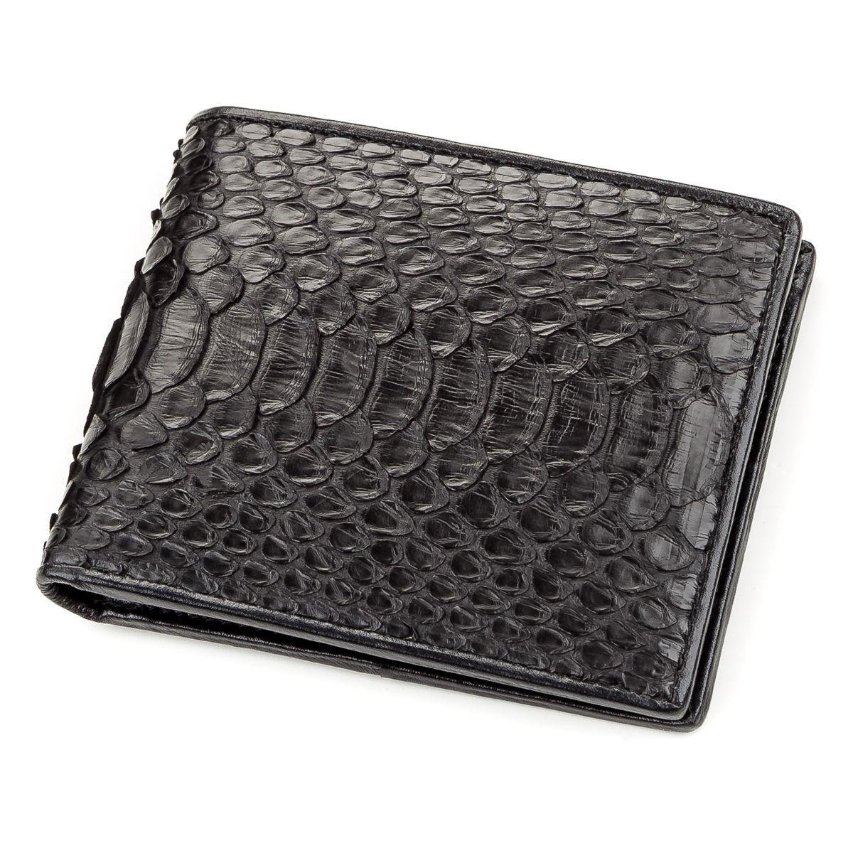 Портмоне Ekzotic Leather из натуральной кожи питона Черное