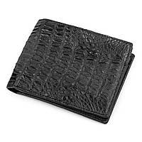 Гаманець Ekzotic Leather з натуральної шкіри крокодила (каймана) Чорний