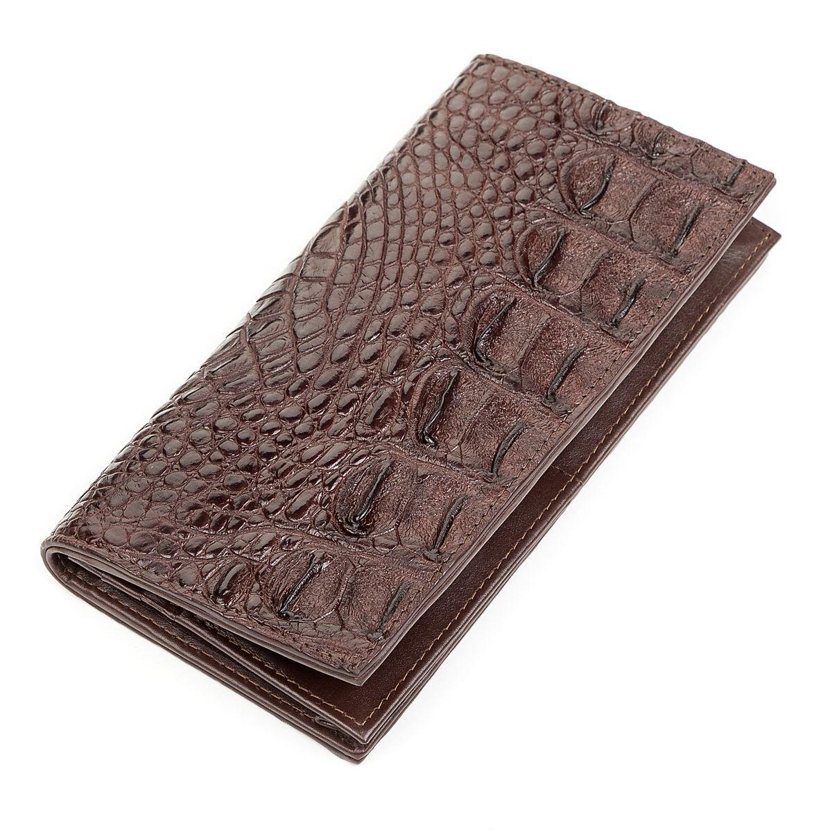 Портмоне вертикальное Ekzotic Leather из натуральной кожи крокодила Коричневое