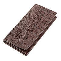 Портмоне вертикальное Ekzotic Leather из натуральной кожи крокодила Коричневое, фото 1