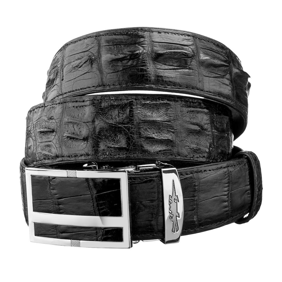 Ремень-автомат Ekzotic Leather из натуральной кожи крокодила Черный
