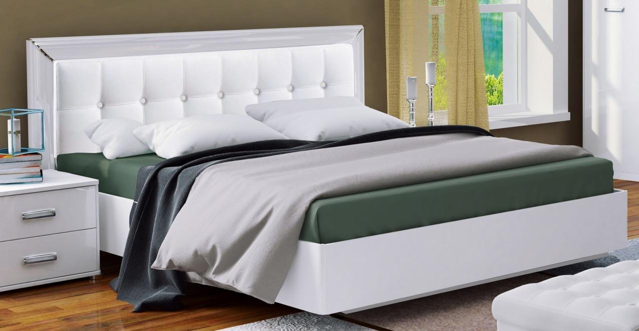 Кровать 160*200 без каркаса с мягкой спинкой  Bella глянец белый ТМ Миро Марк, фото 3