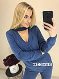 Теплый вязаный женски костюм с чокером 42-46р. (2расцв)., фото 2