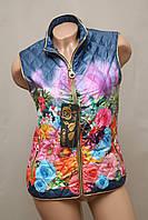 Жилетка женская цветная тёплая стильная яркая модная синяя, фото 1