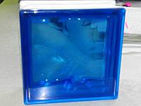 Стеклоблок «Волна» 1908\W Blue цветной в массе - Чехия, фото 1
