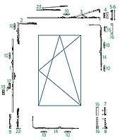 Схема поворотно-откидной фурнитуры Vorne