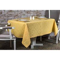 Скатерть Нelen - 342 желтая из водоотталкивающей ткани польского производства с фактурным узором