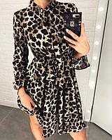 Женское красивое леопардовое платье с завязками