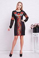 90f7c5b607b5567 Женское черное приталенное платье в орнамент с длинным рукавом Красные маки  Талина д/р