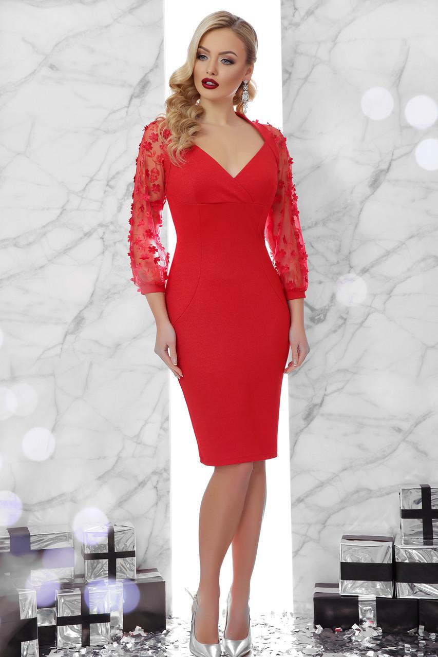 3836410b212 Красное вечернее платье по фигуре до колен с декольте и рукавами в  сетку-цветочек Флоренция