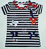 """Модная футболка """"Морячка"""" на девочку рост 116,140 см"""