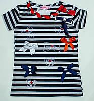"Модная футболка ""Морячка"" на девочку рост 116,140 см, фото 1"