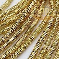 Канитель фигурная 4-гран (трунцал), цвет Светлое золото, диаметр 3 мм*5 грамм