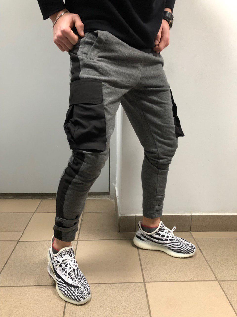 68ea6633 Мужские стильные спортивные штаны серые с черным, цена 840 грн., купить в  Киеве — Prom.ua (ID#873723498)