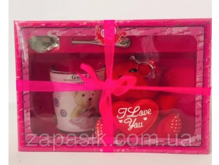 Подарочный набор Брелок Мишка Чашка Ложка День Святого Валентина 8 Марта Сувенир