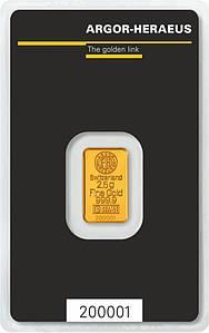 Слиток золота 2,5 грамм Argor-Heraeus (НОВЫЙ)