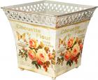 Кашпо квадратное металлическое Чайная роза 18х18см 555-047-2
