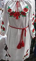 Платье лён  Маки