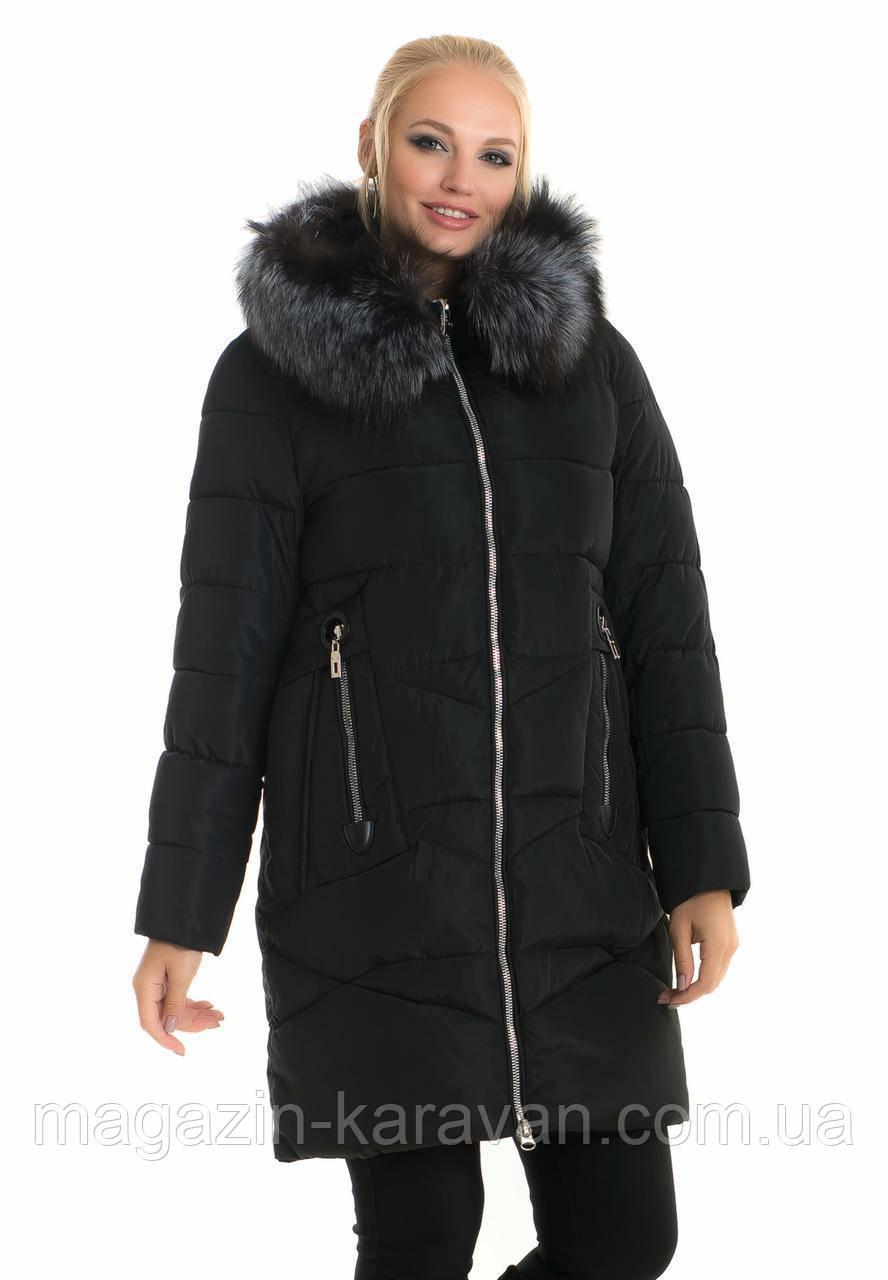 Женский зимний пуховик с натуральным мехом чернобурка 028 черный