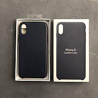 Кожаный чехол на айфон X темно_синий Apple iphone leather case midnight blue