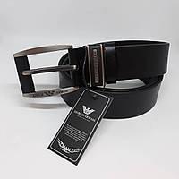 Мужской черный кожаный ремень Giorgio Armani  чоловічий ремінь шкіряний чорний пояс
