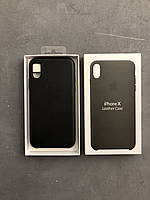 Кожаный чехол на айфон X черный Apple iphone leather case black