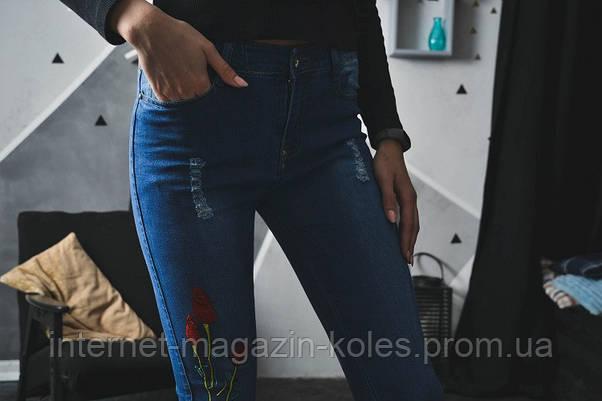 Женские джинсы декорированные тюльпаном, фото 2
