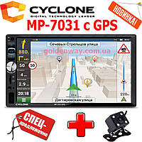 Автомагнитола 2 DIN CYCLONE MP-7031 с GPS навигацией и картами + камера в комплекте