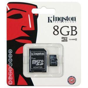 Карта памяти microSD Kingston microSDHC 8GB Class 10 + SD adapter