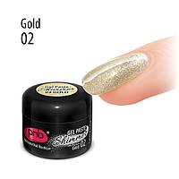 УФ/ЛЕД гель-паста Shimmer PNB 02 Gold, золото, 5 мл