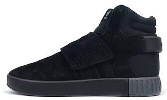 Мужские кроссовки Adidas Tubular Invader All Black (адидас тубулар, черные)