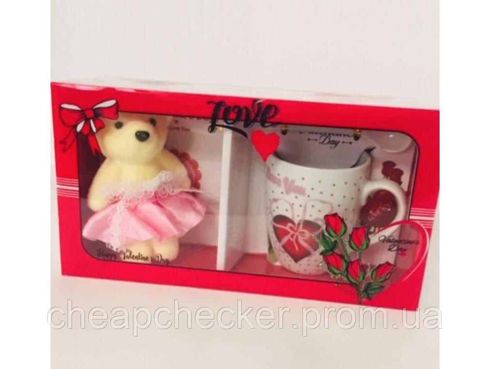 Подарочный набор День Святого Валентина 8 Марта Мишка Чашка Ложка Сувенир