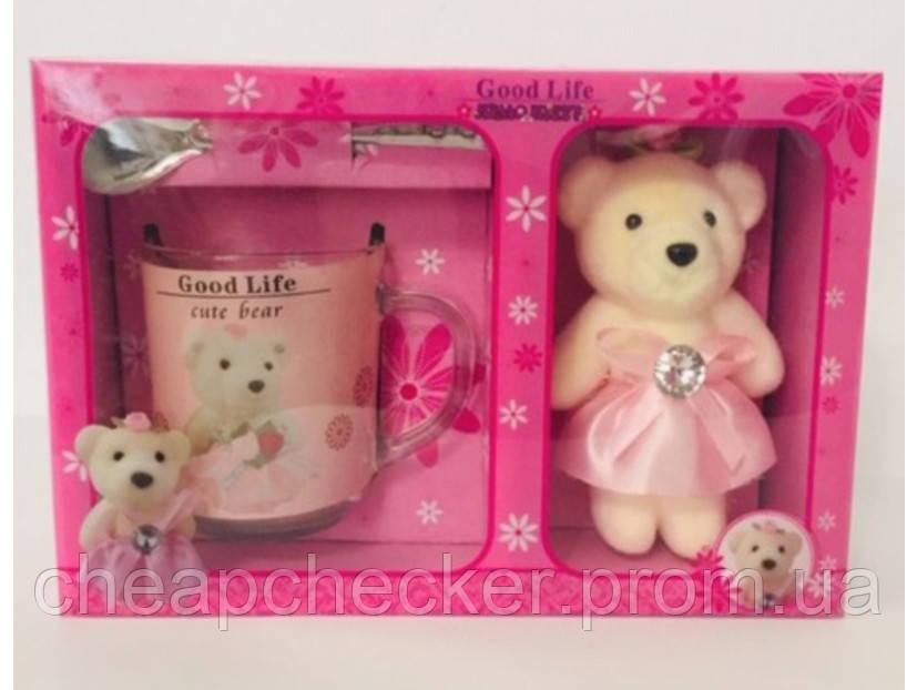 Подарочный набор День Святого Валентина 8 Марта Мишка Чашка Ложка Сувенир Лучшая Жизнь