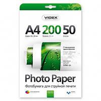 Фотобумага Videx глянцевая А4 200г/п, 50л