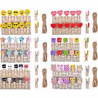 Прищепки деревянные декоративные с фигурками (3,5×0,6см), 10 шт/уп
