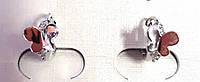 Серьги маленькие кольца ХР 18 к, бабочки, родий