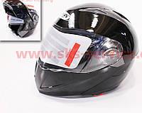 Шлем закрытый с откидным подбородком+очки FXW HF-118 М- черный глянец