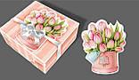 Подарочная коробка с лентой, Шкатулка c открыткой, Букет тюльпанов, Картонная упаковка для конфет, 700 грамм, фото 2