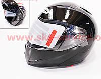 Шлем закрытый с откидным подбородком+очки FXW HF-118 L- черный глянец