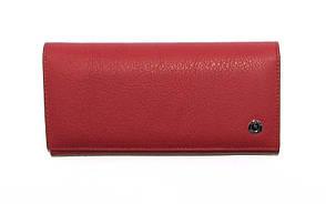 Женский кожаный кошелек Boston,  красный классика, сзади молния