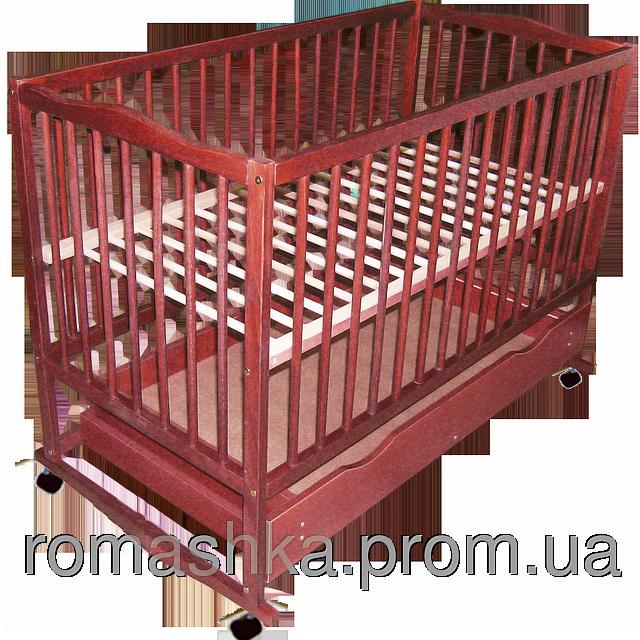 """Детская кроватка """"Дубок"""", дерево бук, колесика, качалки, шухляда (ящик с крышкой), цвет темный"""