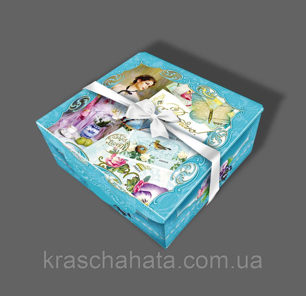 Подарочная коробка с лентой, Шкатулка c открыткой, Ретро, Картонная коробка для конфет, 700 грамм