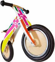 """Беговел 12"""" Kiddi Moto Kurve деревянный, британский флаг в цветах радуги"""