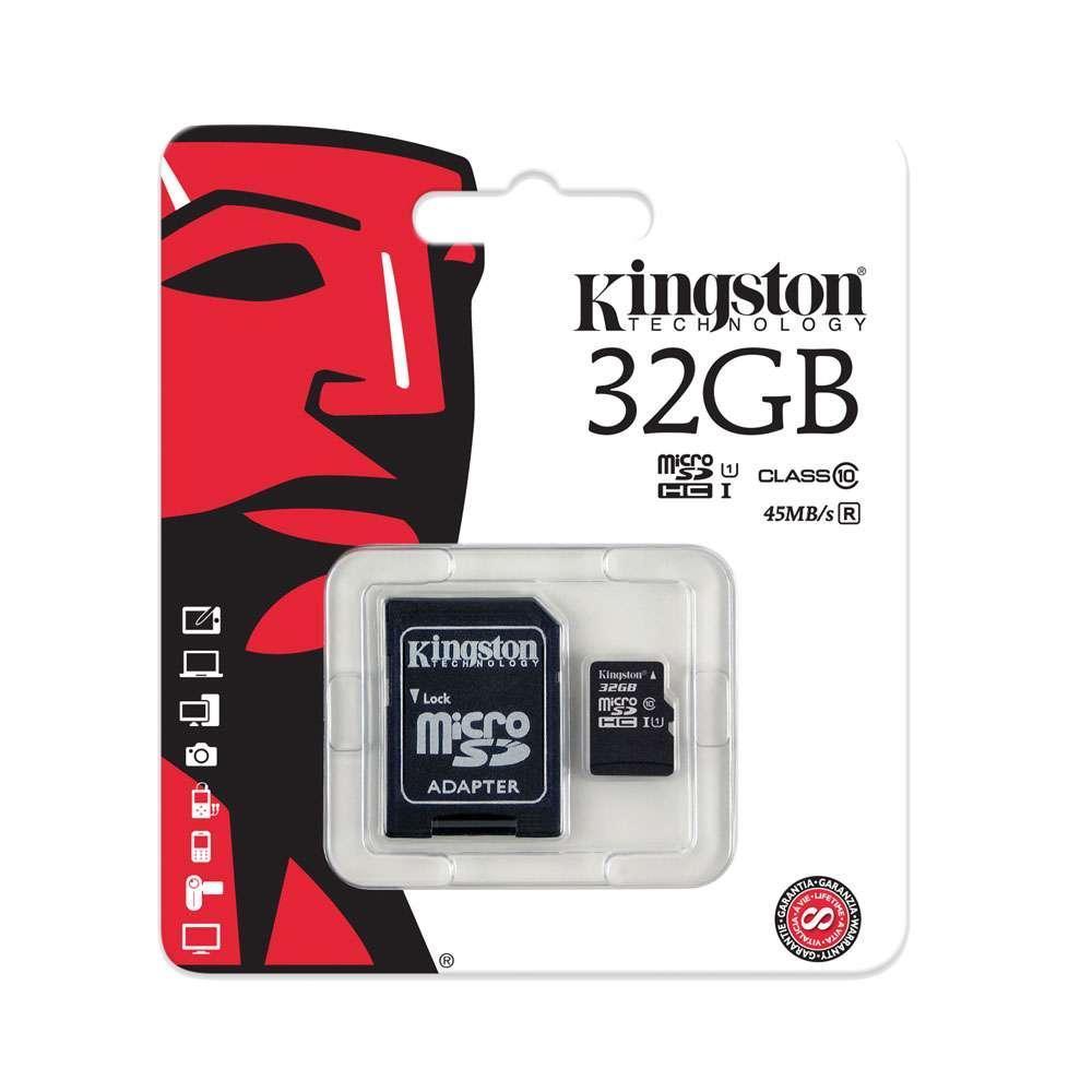 Карта памяти microSD Kingston microSDHC 32GB Class 10 + SD adapter