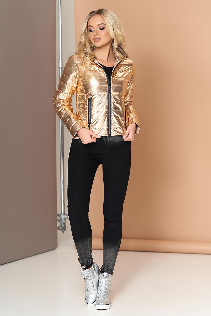 Куртка женская короткая демисезонная с капюшоном золотая