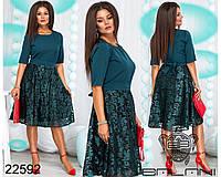 Платье вечернее женское,размеры 48,50,52,54 ткань верх - костюмка, низ- стрейч сетка с атласной нитью, фото 1