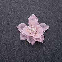 Фурнитура нашивка Цветок Лотоса розовый акрил d-40мм