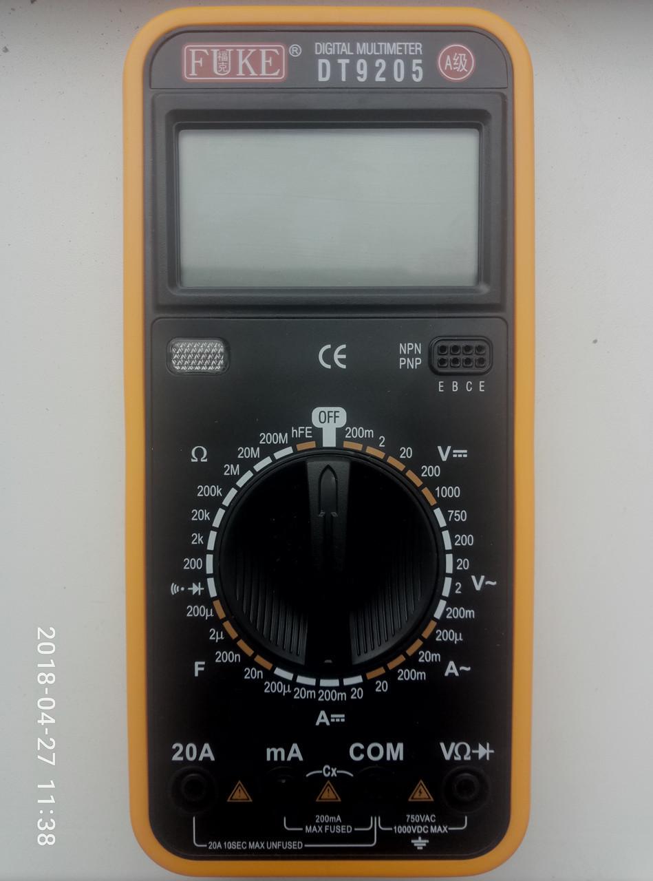 Цифровой мультиметр DT9205 (DCV 1000В, ACV 750В,DCA 20A, ACA 20A, 200МОм, 200мкФ)
