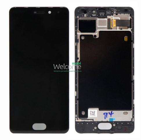 Модуль Meizu Pro 7 black с рамкой дисплей экран, сенсор тач скрин Мейзу Про 7