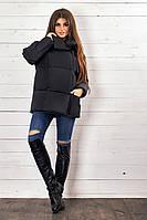 Стильная демисезонная женская куртка с завязками чёрная 42-44 46-48, фото 1